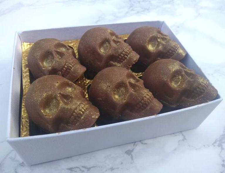 Solid chocolate skulls