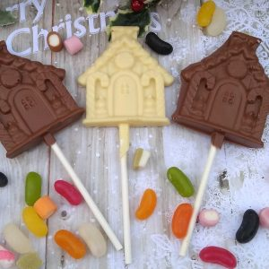 CHocolate house lollipop with christmas candy