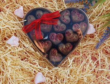 chocolate hearts in a heart box