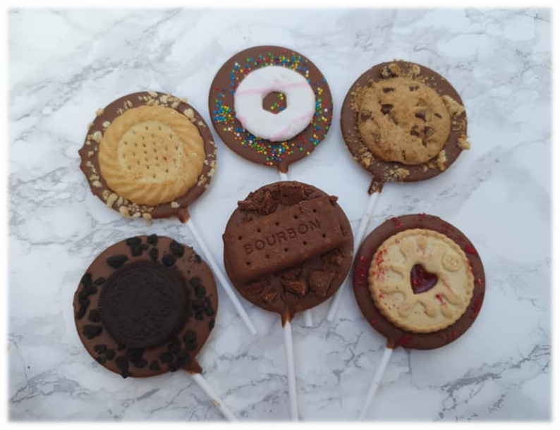 Selection of lollipops with cookie toppings